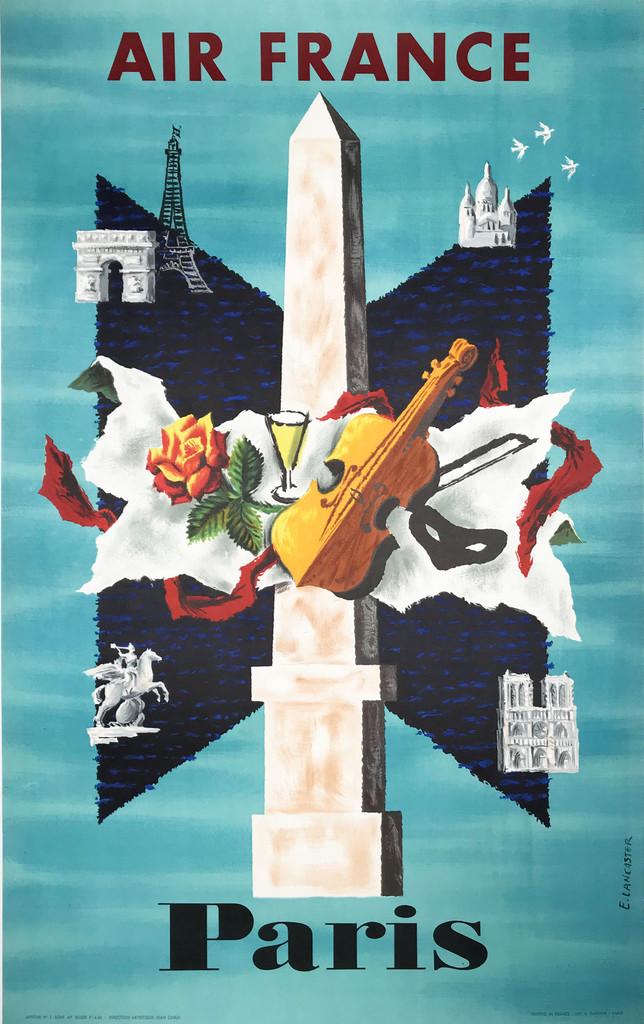 Air France Paris original travel poster by E. Lancaster circa 1956.