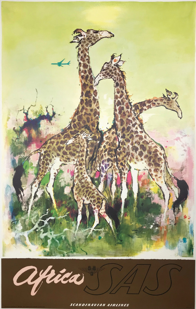 Africa SAS Scandinavian Airlines System Original 1962 Vintage Travel Poster by Otto Nielsen.