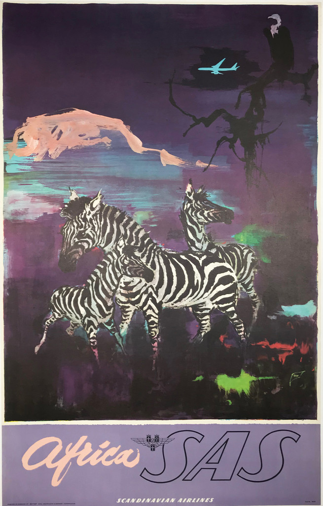 Africa SAS 1962 Scandinavian Airlines Travel Poster by Otto Nielsen
