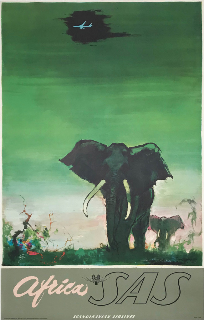 Africa SAS Elephants 1962 Scandinavian Airlines Travel Poster by Otto Nielsen