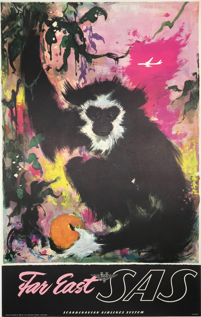 Far East SAS Airlines Monkey original 1962 travel poster by Otto Nielsen.