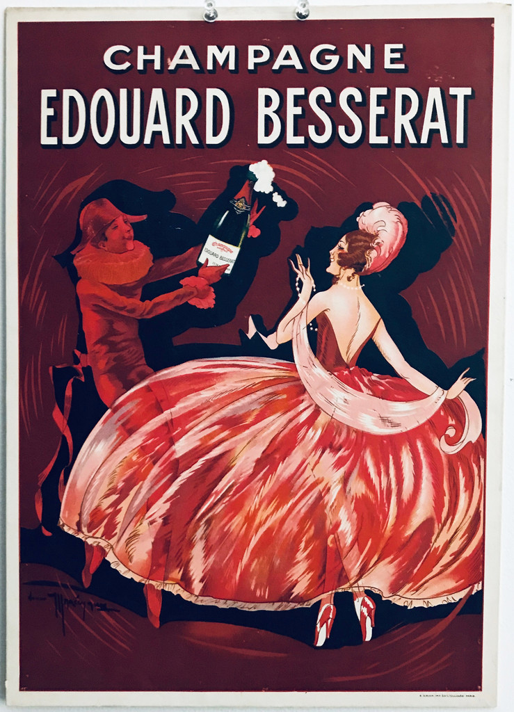 Champagne Edouard Besserat original vintage poster (store display)