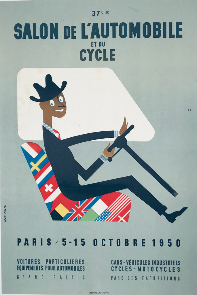 Salon De L Automobile et du Cycle original advertisement lithography vintage poster by Jean Colin from 1950 France