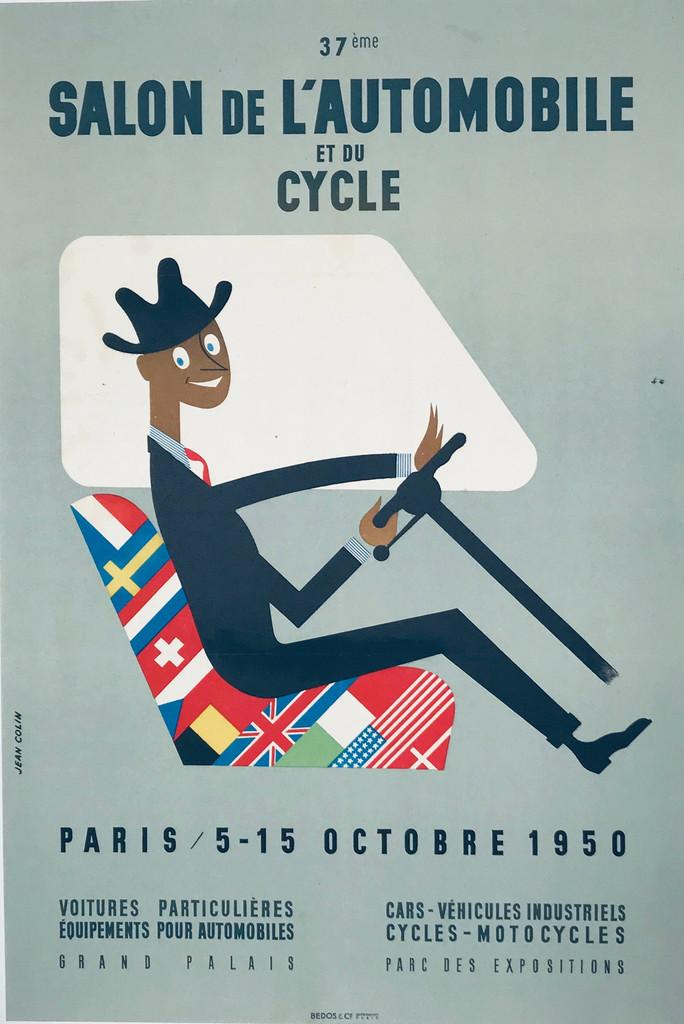 Salon De L Automobile et du Cycle original advertisement lithography vintage poster by Jean Colin from 1950 France