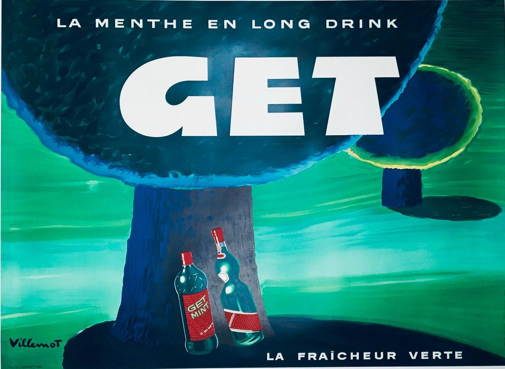 GET La Menthe En Long Drink Pippermint Original Vintage French Poster by Bernard Villemot.