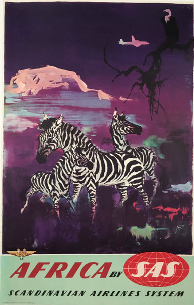 1958 Danish Africa By SAS Airlines Poster