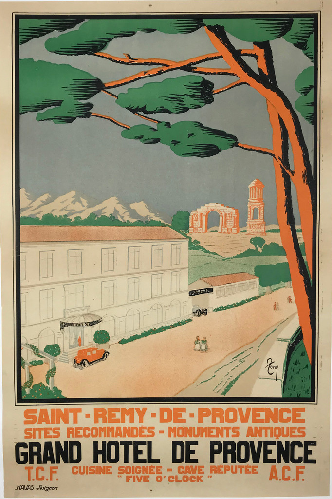 Grand Hotel De Provence Original French Vintage Travel Poster by Tony.