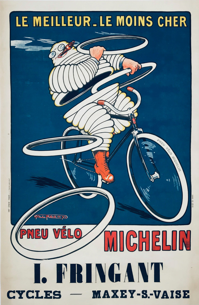 Michelin Pneu Velo I. Fringant Cycles original vintage poster by Roowy