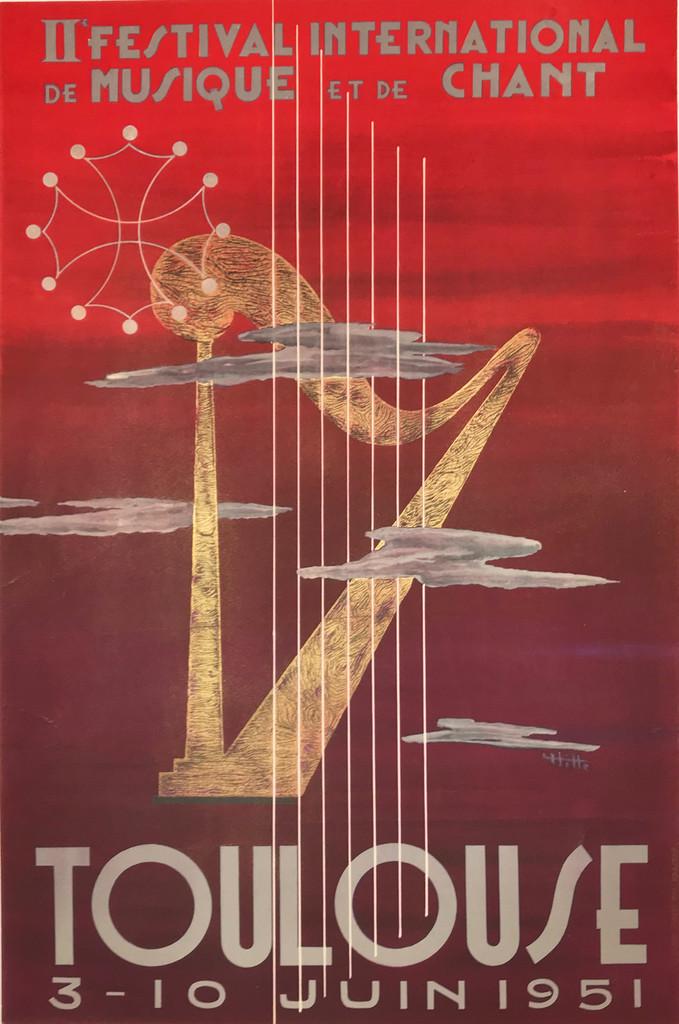 Toulouse Festival International De Musique original 1951 vintage poster