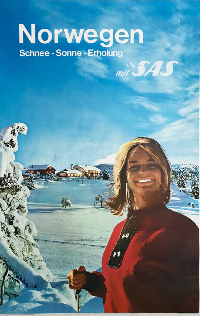 Norwegen mit SAS Airlines original travel poster Ski Resort Advertisement