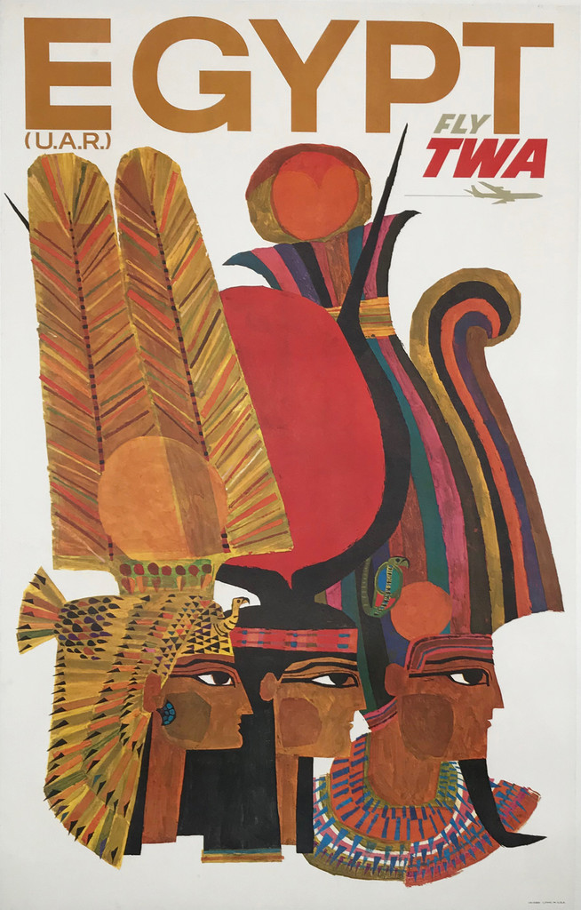 Egypt Fly TWA Airlines original American travel poster