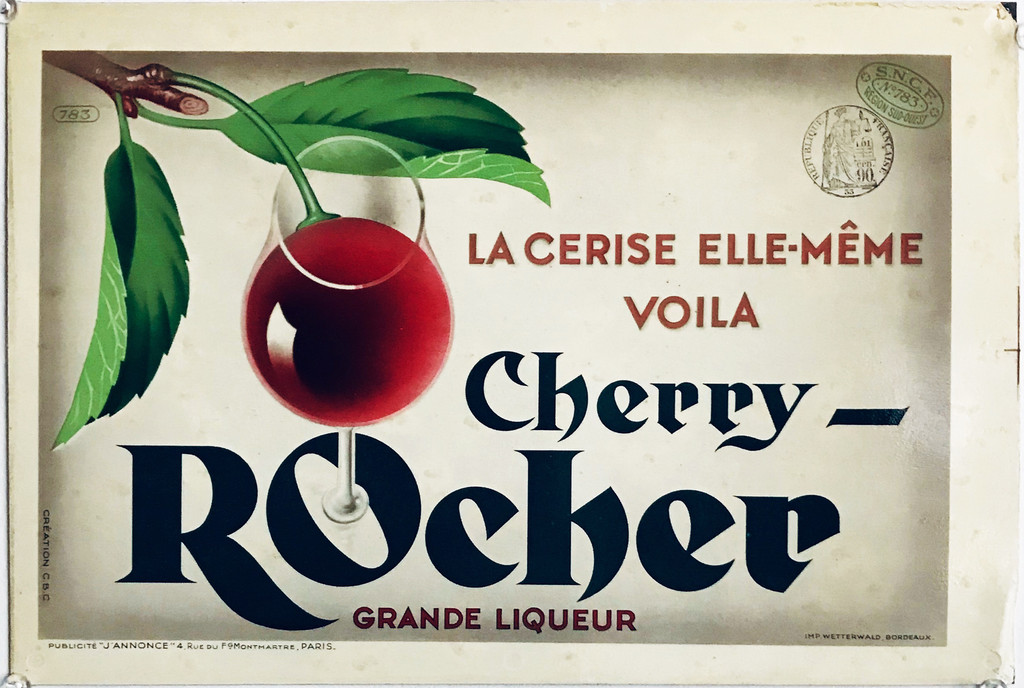 Cherry Rocher Grande Liqueur (store display) original French advertisement vintage ad