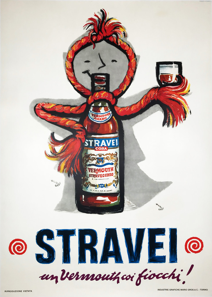Stravel Cora Vermouth original Italian wine and spirits vintage poster by Mario Gros.