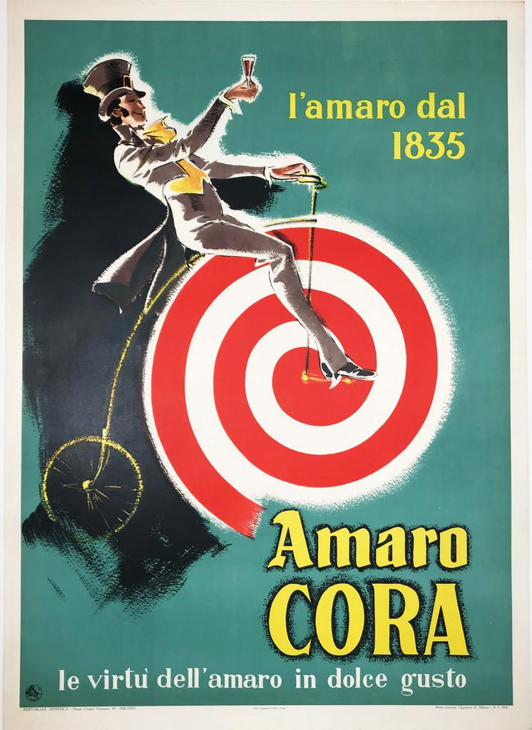 Amaro Cora original Italian 1954 wine and spirits vintage poster