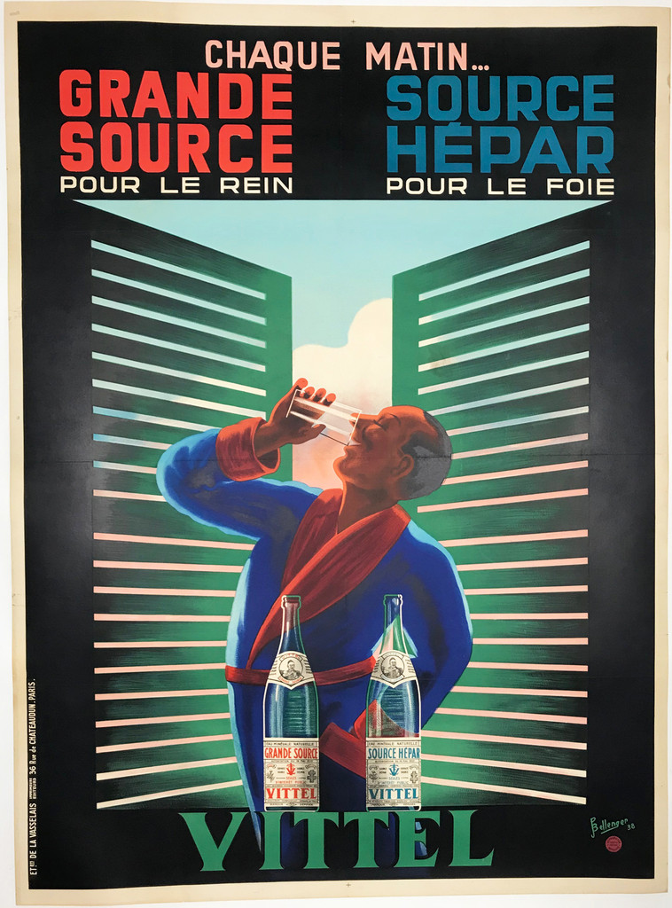 Vittel Grande Source Source Hepar Eau Minerale Naturelle original 1938 vintage poster by Pierre Bellenger.