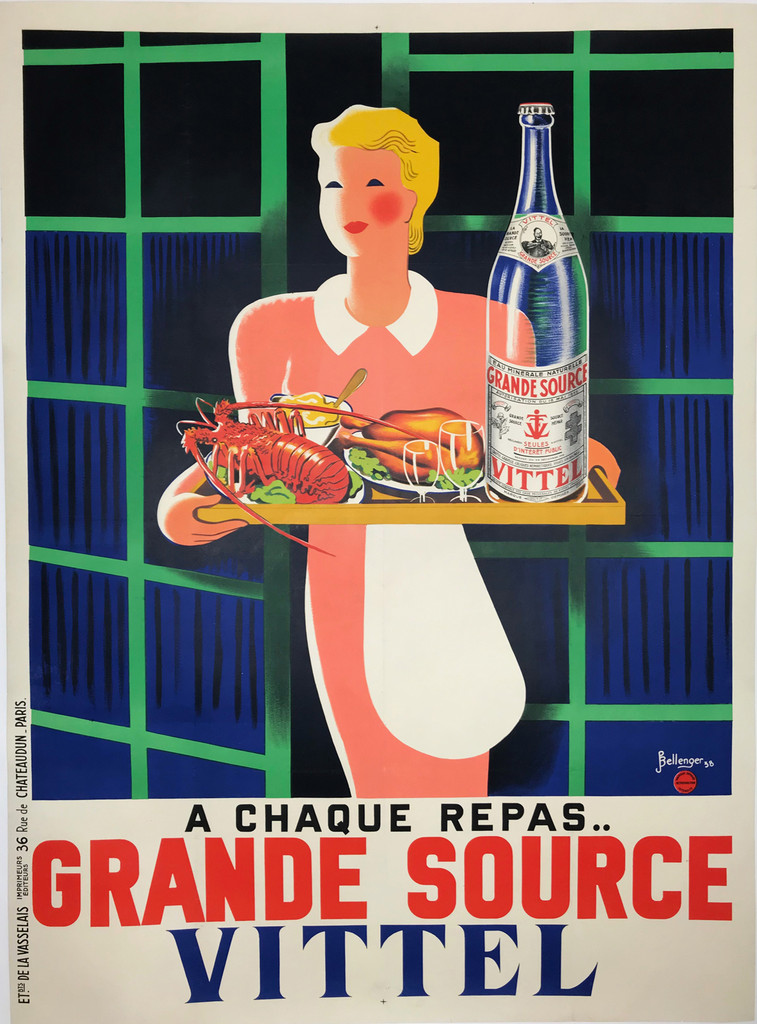 Grande Source Vittel Eau Minerale Naturelle original 1938 vintage food culinary poster by Pierre Bellenger.