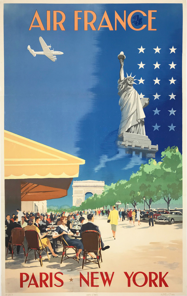 Air France Paris New York original French travel poster