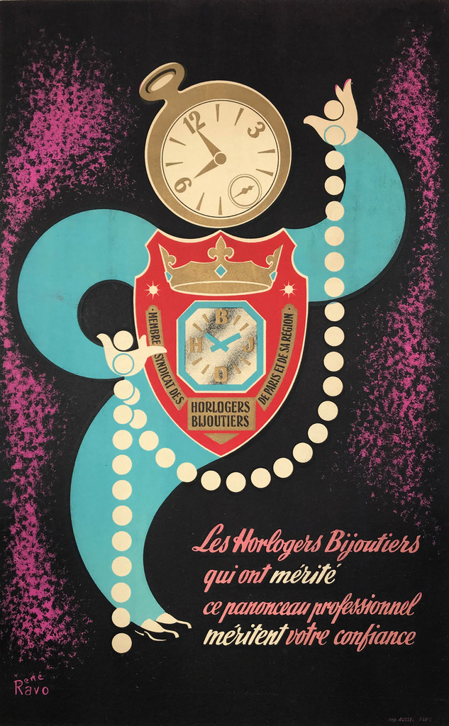 Horlogers Bijoutiers and watches advertisement by Rene Ravo, French vintage poster antique lithograph