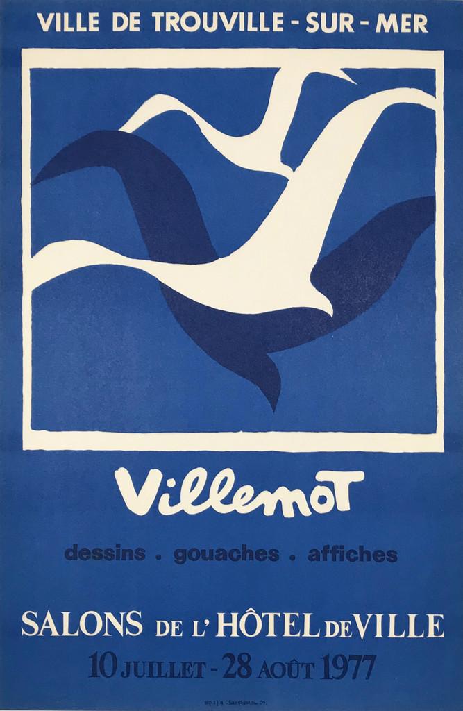 Villemot Dessins - Gouaches - Affiches Salons De L Hotel De Ville original gallery exhibition vintage poster from 1977 France