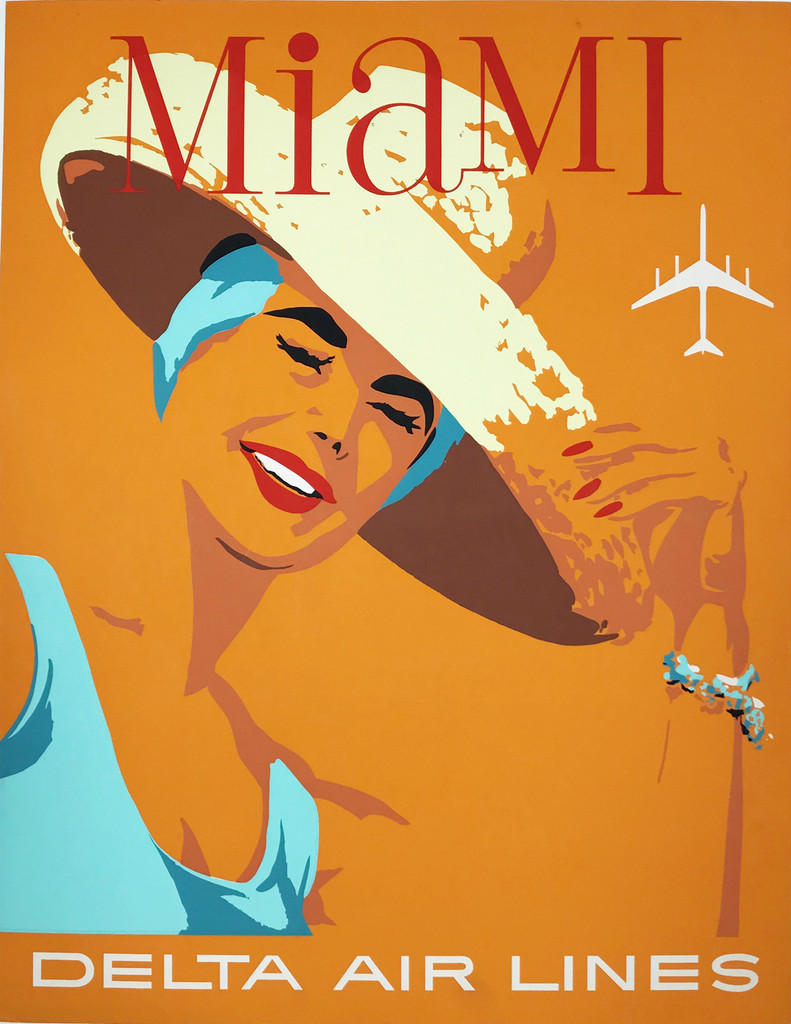 Delta Airlines Miami Beach American original vintage travel poster