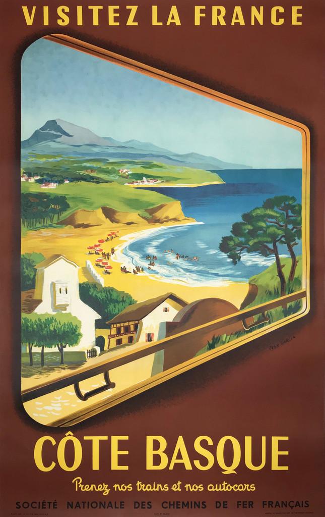 Cote Basque Visitez La France Original Vintage Travel Poster from 1952 by Jean Garcia