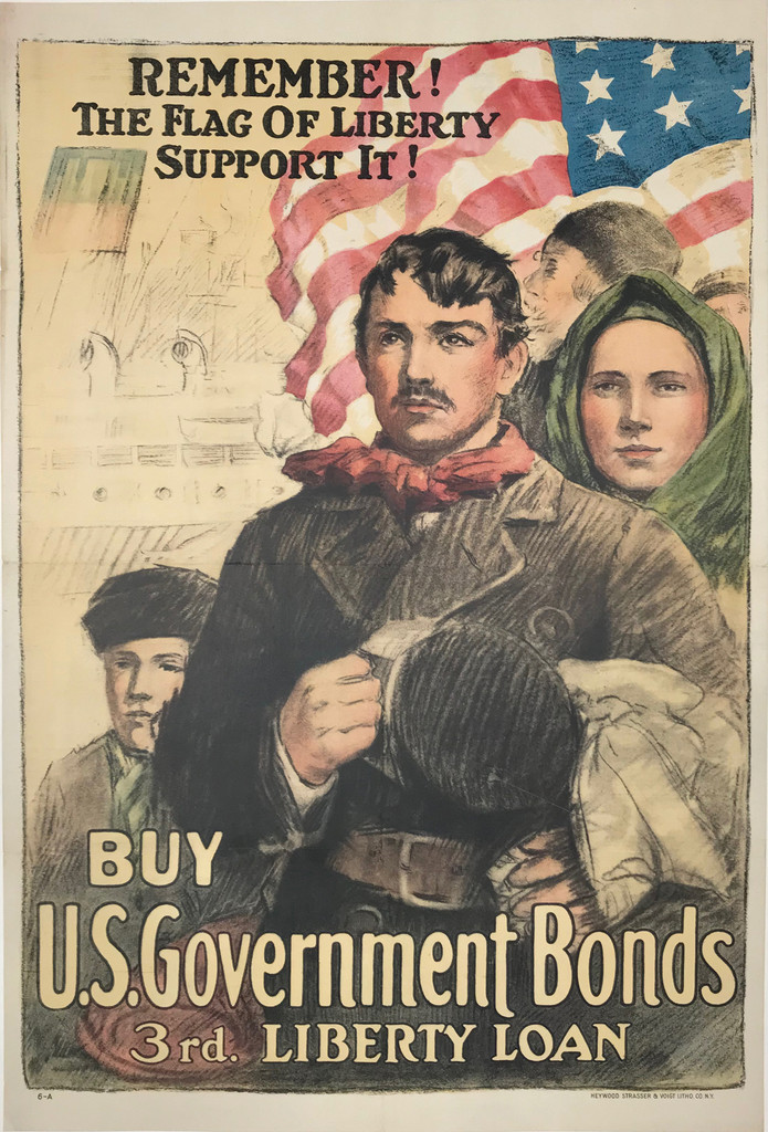 Remember! The Flag Of Liberty Support It! Buy U.S. Government Bonds Original 1918 American War Poster