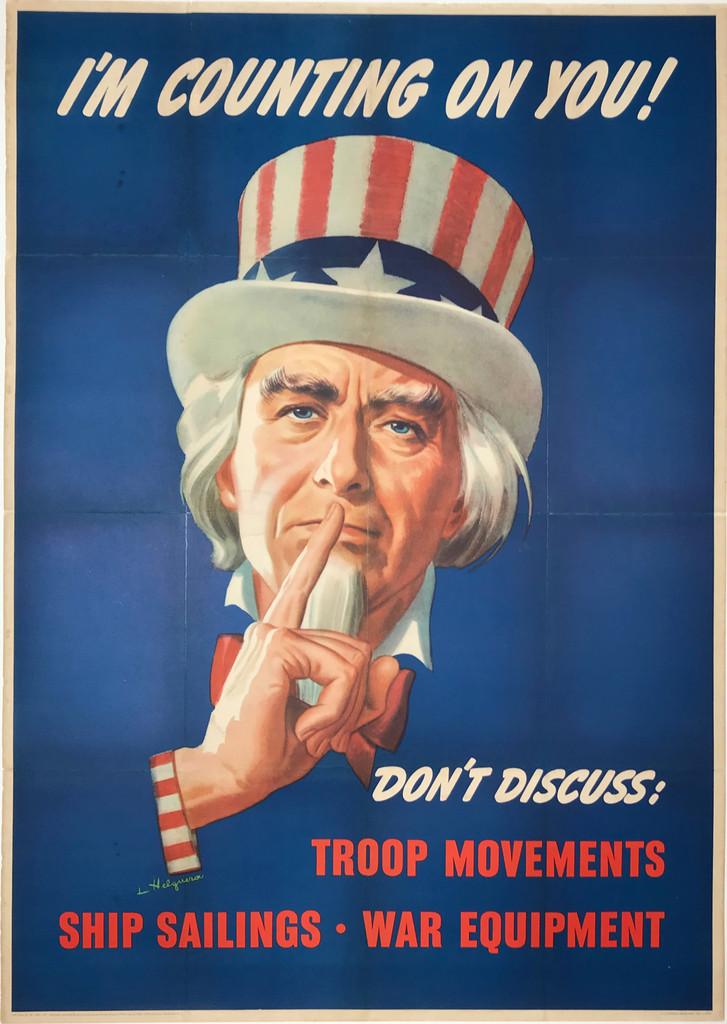 I'm Counting on you original war propaganda vintage poster.