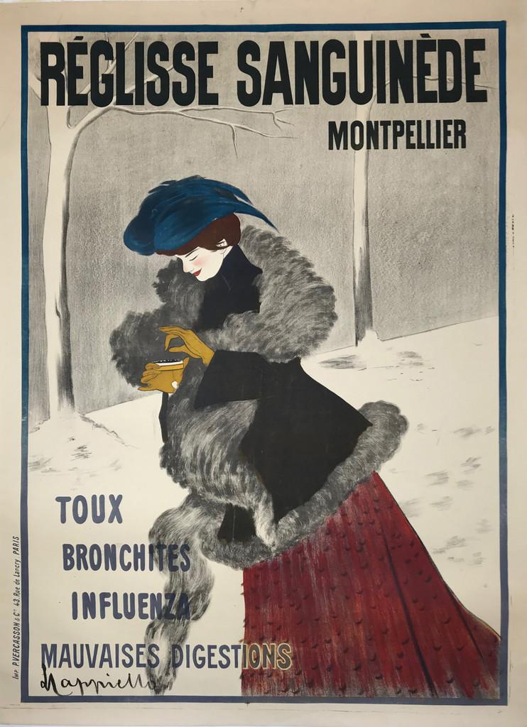 Reglisse Sanguinede Montpellier by Cappiello Original 1902 Vintage Antique Stone Lithograph Medicinal Advertisement Poster Linen Backed.