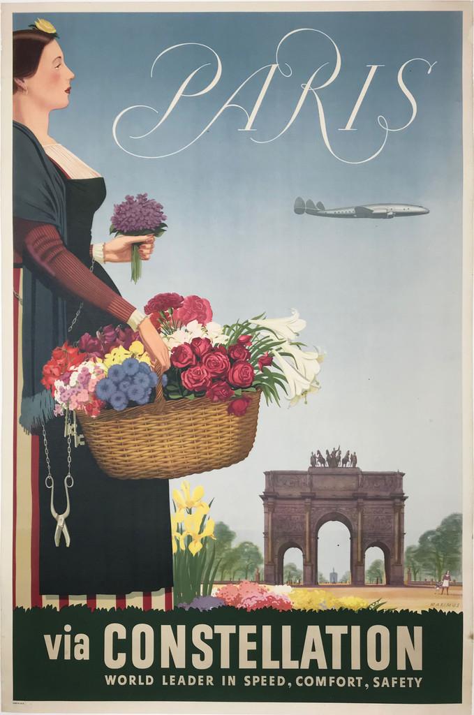 Paris via Constellation original French travel poster by Maximus
