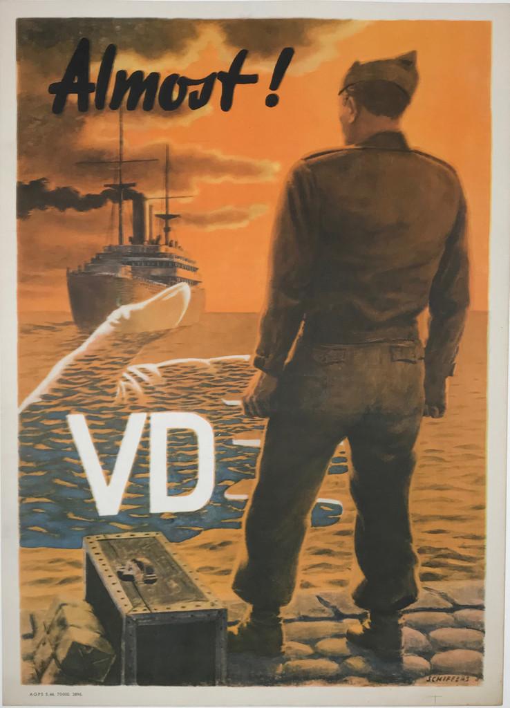 VD Almost original American war propaganda vintage poster.