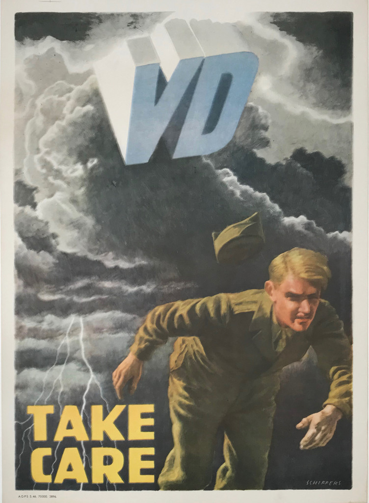 VD Take Care original American war propaganda vintage poster by Schiffers.