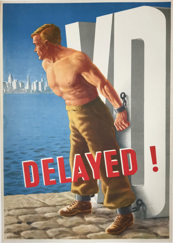 VD Delayed original American war propaganda vintage poster by Schiffers.