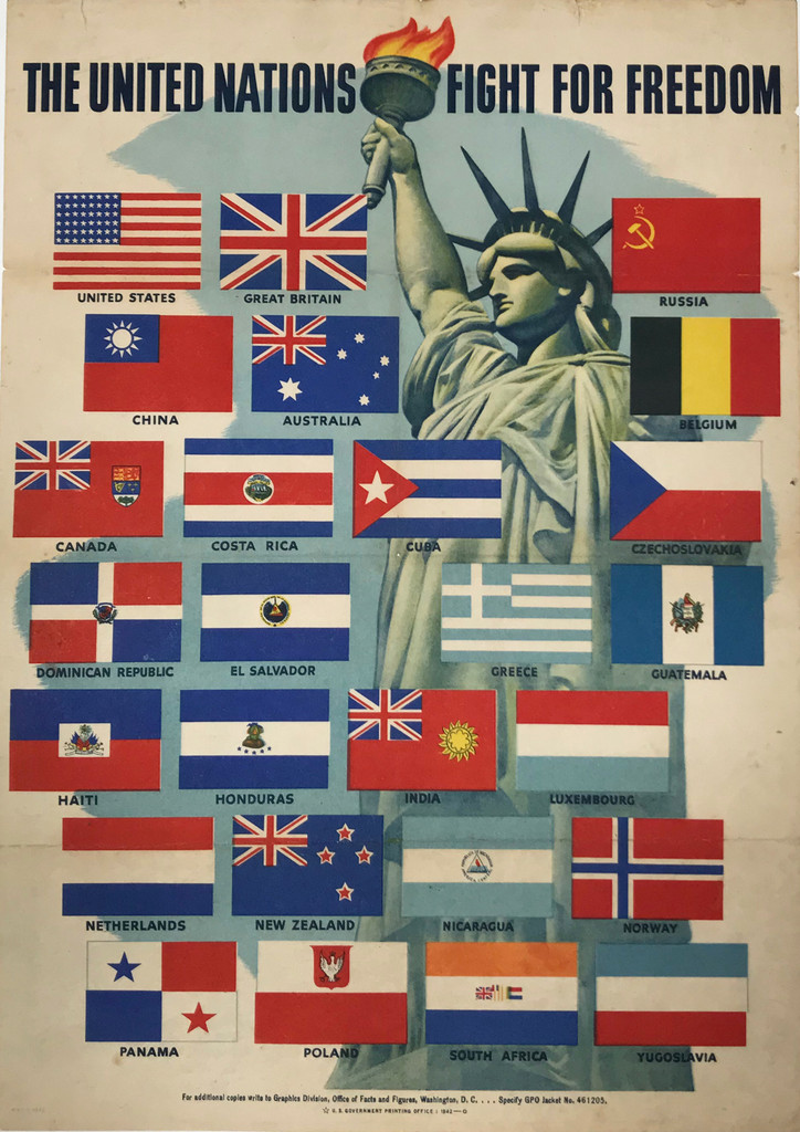 The United Nations Fight for Freedom (small size) American original vintage poster from 1942.