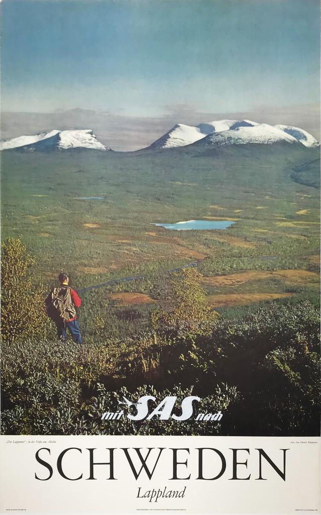Schweden Lappland  mit SAS Airlines original travel poster from 1970.