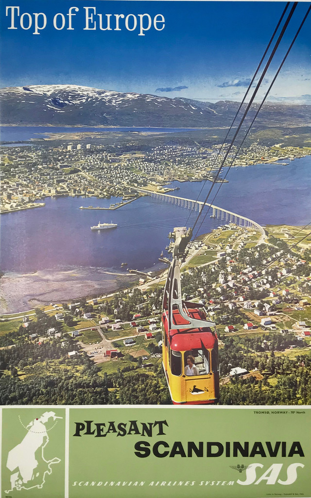 Top Of Europe Pleasant Scandinavia SAS Airlines original travel poster