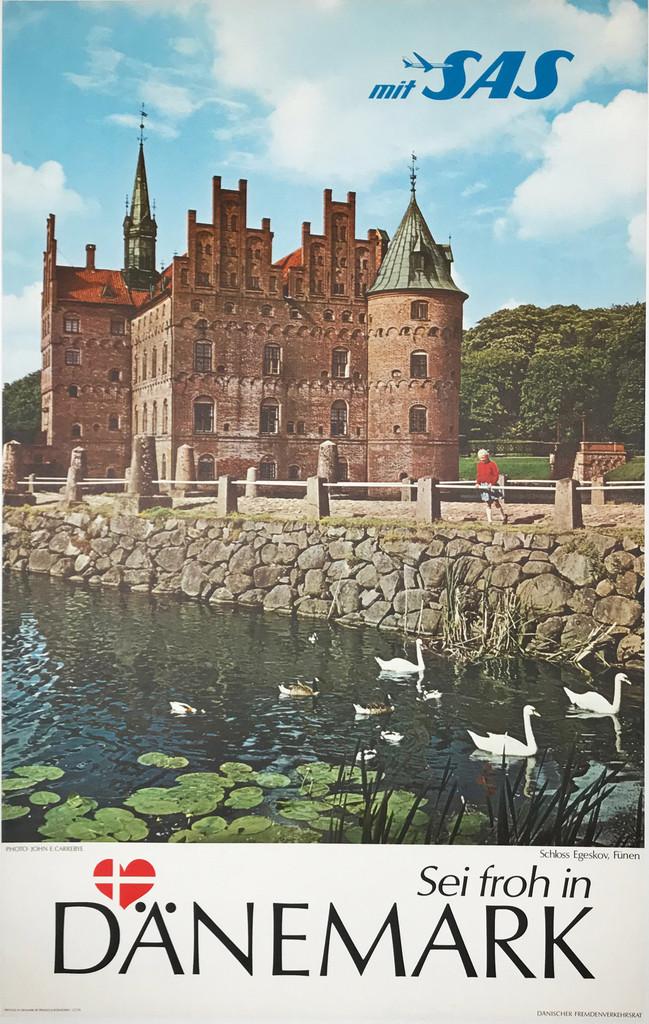 Danemark mit SAS Airlines original travel poster Denmark tourism advertisement