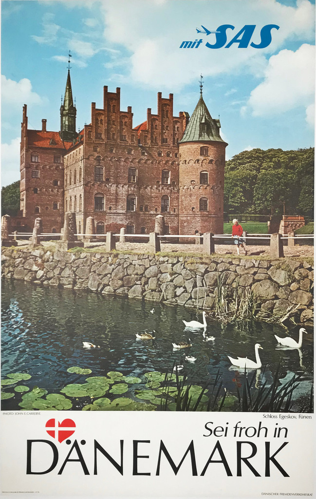 Danemark mit SAS Airlines original travel poster Denmark tourism advertisement
