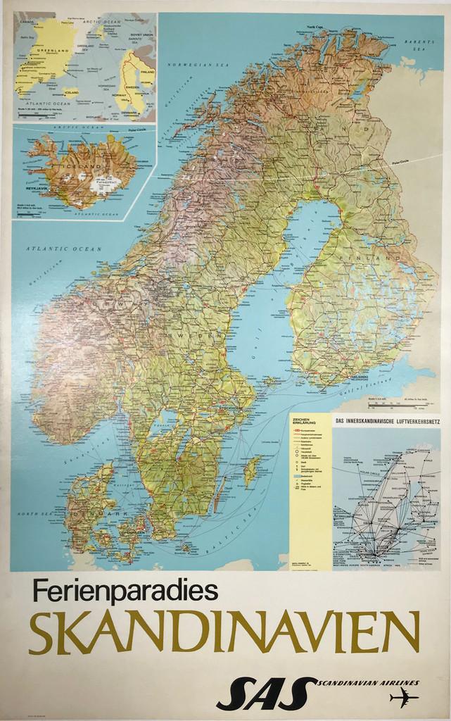 Skandinavien SAS Airlines original Scandinavian travel poster