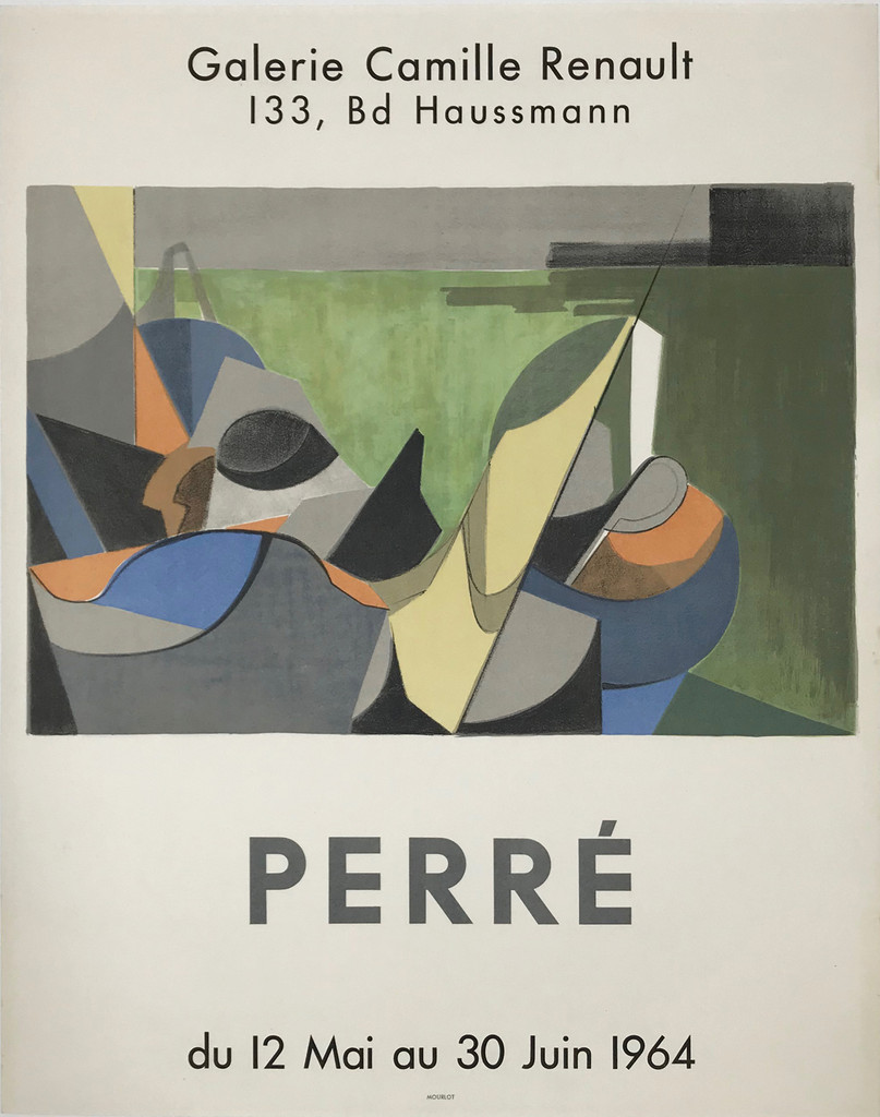 Perre Galerie Camille Renault original gallery exhibition vintage poster from 1964 by Mourlot