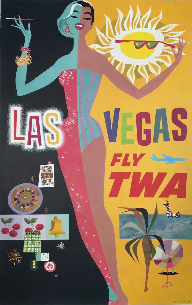 Las Vegas Fly TWA Airlines original American travel poster by David Klein.