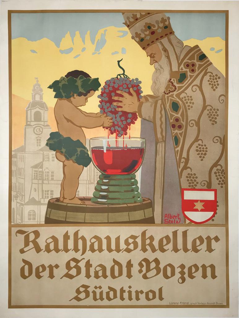 Rathauskeller original wine and spirits vintage poster.