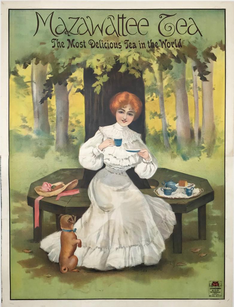 Mazawatte Tea original English vintage food culinary poster
