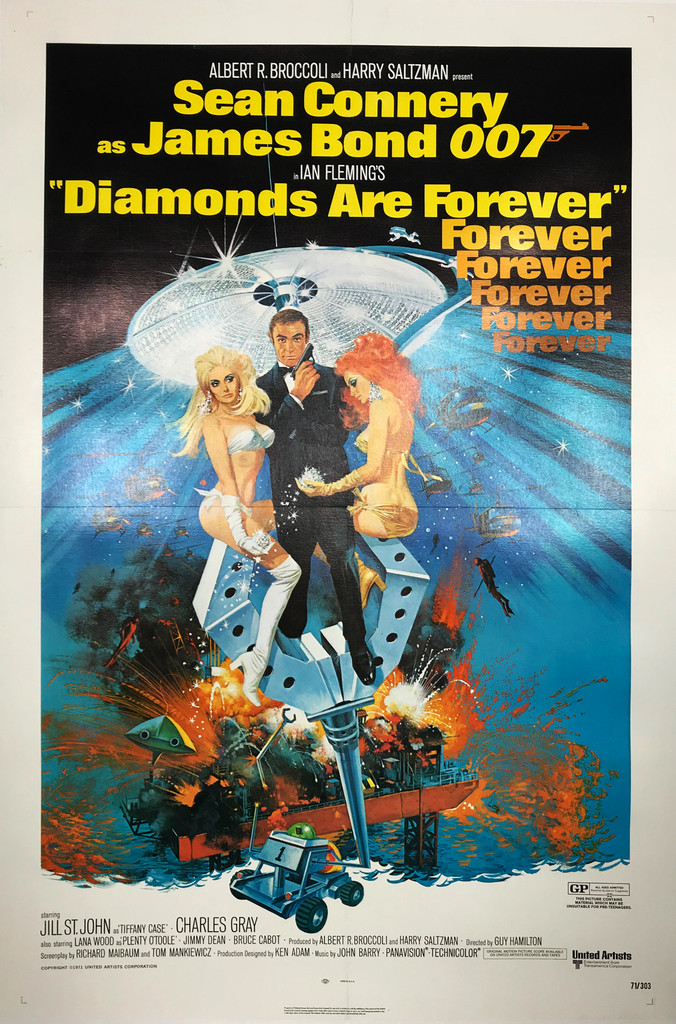 Diamonds Are Forever Sean Connery as James Bond 007 original American movie poster from 1971.