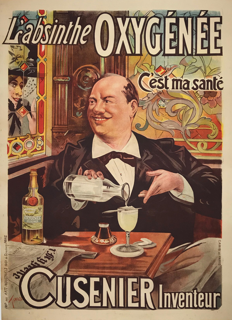 L'absinthe Oxygenee Cusenier Inventeur original vintage poster by Tamagno
