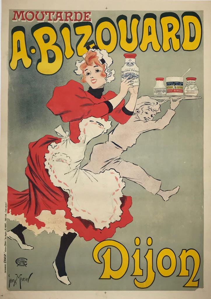 Moutarde A. Bizouard Dijon Original 1896 French Antique Vintage Poster by George Meunier Linen Backed