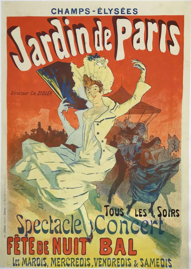 Jardin De Paris Spectacle Concert Fete De Nuit Bal original vintage poster by Jules Cheret.