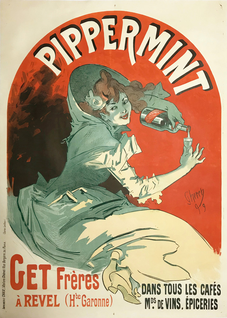 Pippermint Get Freres A Ravel original 1899 vintage poster by Jules Cheret