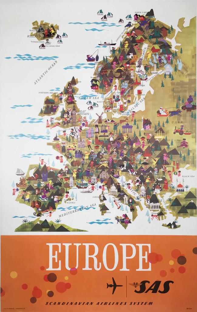 SAS Europe original Denmark travel poster