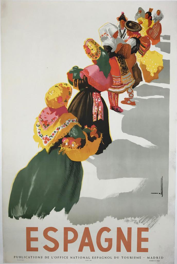 Espagne Original Vintage Spanish Travel Poster