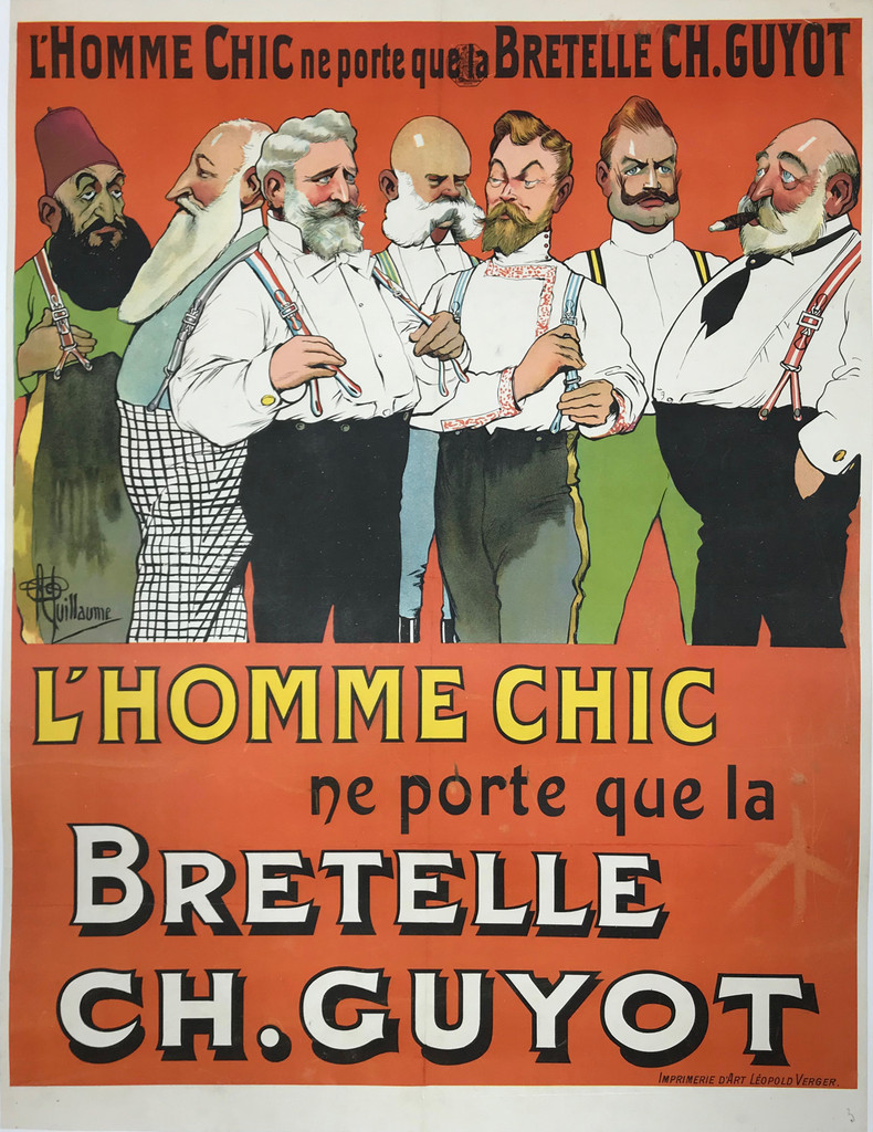 Bretelle Ch. Guyot L Homme Chic original vintage French poster product advertisement